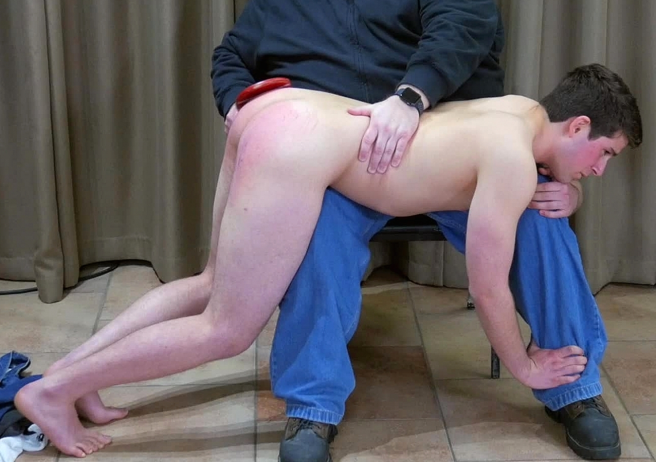 Lazy young man gets a harsh otk spanking